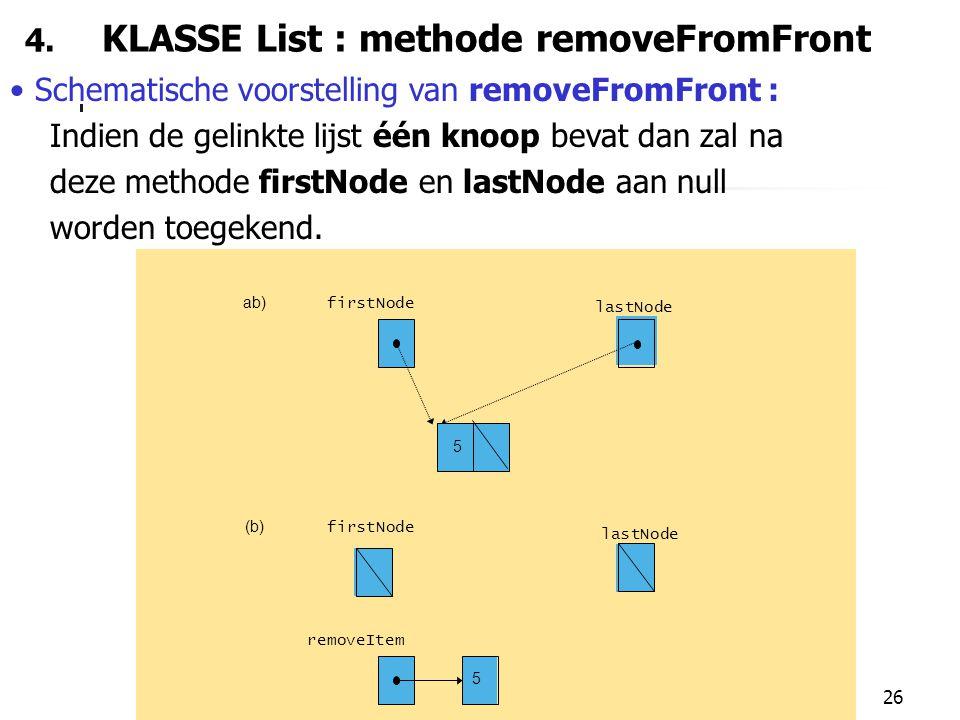 26 4. KLASSE List : methode removeFromFront Schematische voorstelling van removeFromFront : Indien de gelinkte lijst één knoop bevat dan zal na deze m