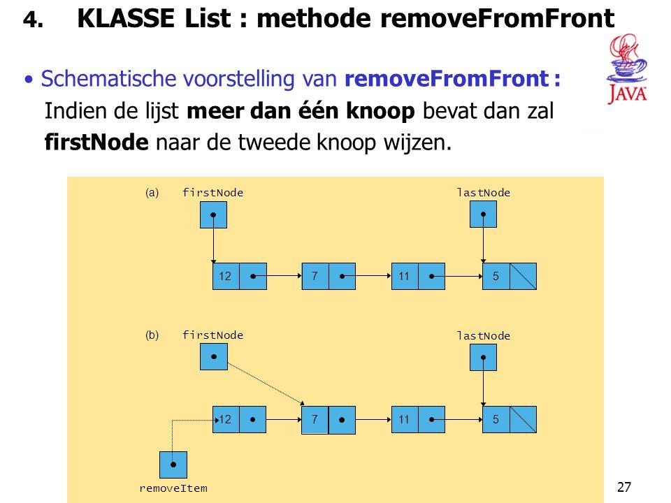 27 4. KLASSE List : methode removeFromFront Schematische voorstelling van removeFromFront : Indien de lijst meer dan één knoop bevat dan zal firstNode