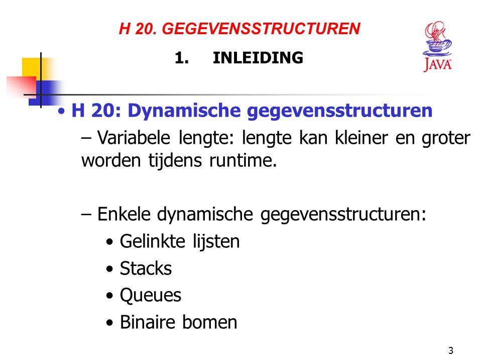 3 H 20. GEGEVENSSTRUCTUREN 1. INLEIDING H 20: Dynamische gegevensstructuren – Variabele lengte: lengte kan kleiner en groter worden tijdens runtime. –