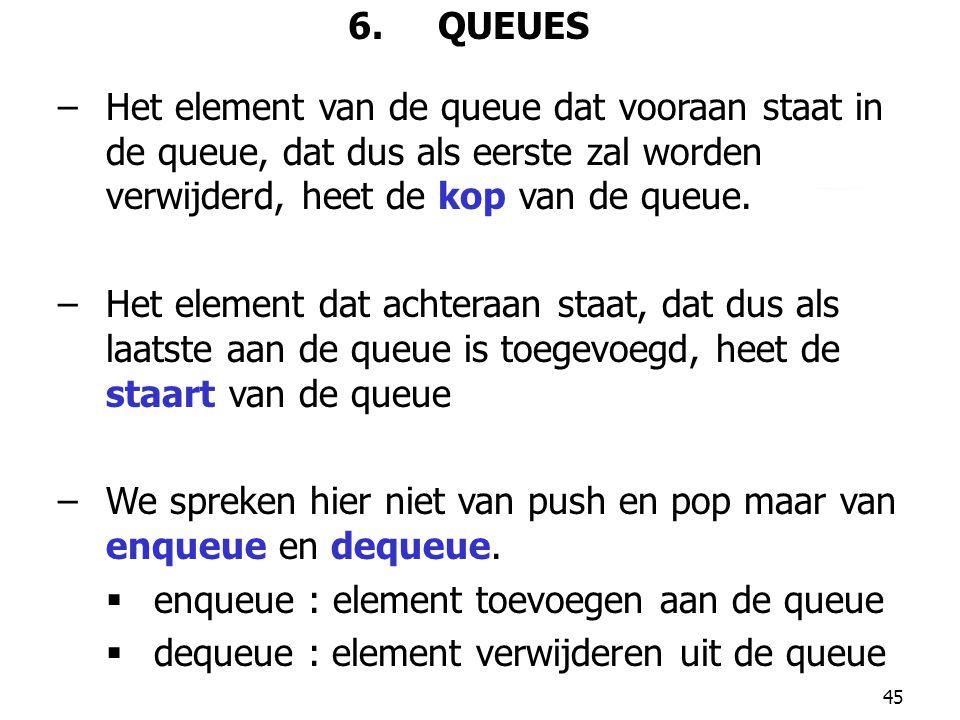 45 6. QUEUES –Het element van de queue dat vooraan staat in de queue, dat dus als eerste zal worden verwijderd, heet de kop van de queue. –Het element