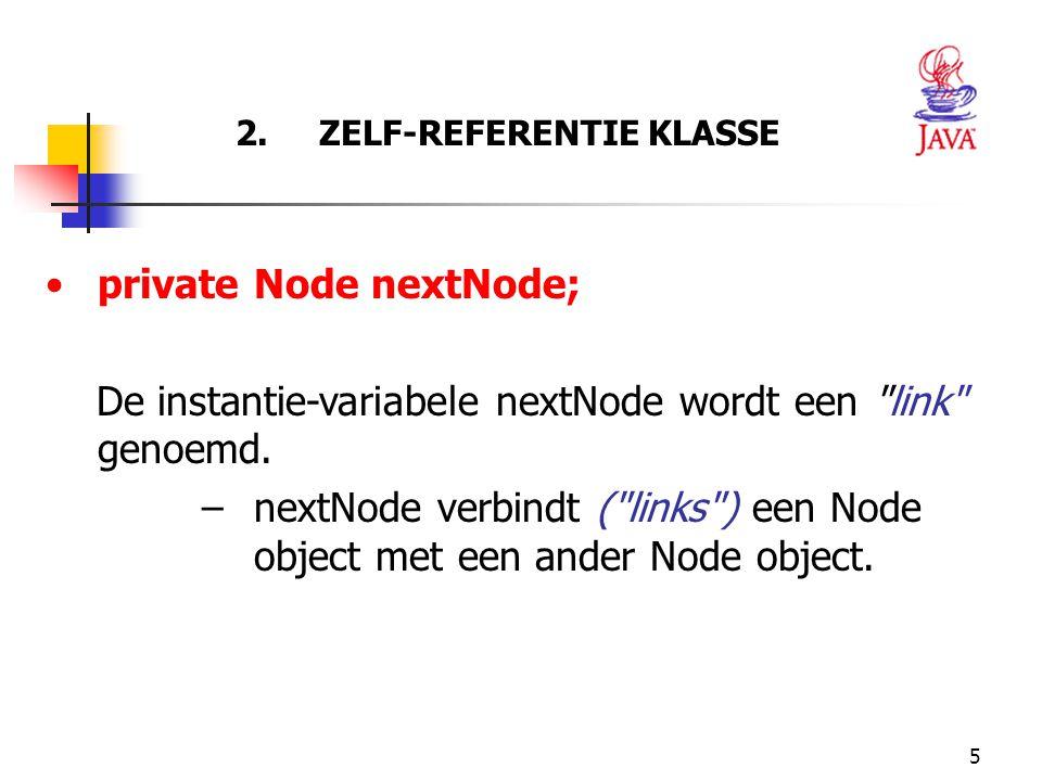5 2. ZELF-REFERENTIE KLASSE private Node nextNode; De instantie-variabele nextNode wordt een