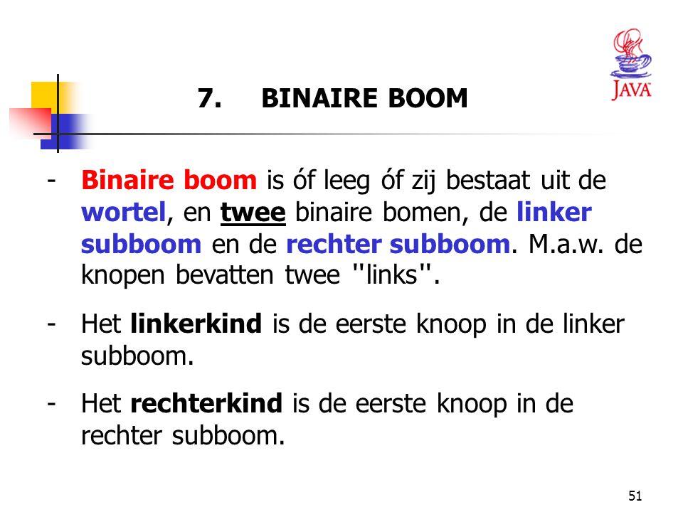 51 7. BINAIRE BOOM - Binaire boom is óf leeg óf zij bestaat uit de wortel, en twee binaire bomen, de linker subboom en de rechter subboom. M.a.w. de k