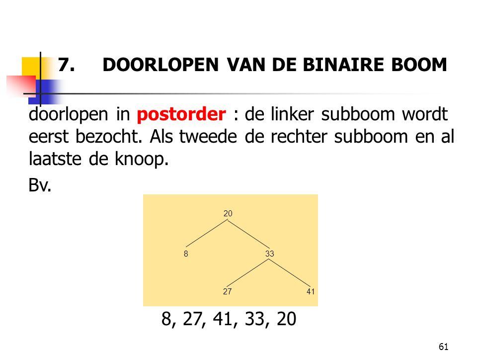 61 7. DOORLOPEN VAN DE BINAIRE BOOM doorlopen in postorder : de linker subboom wordt eerst bezocht. Als tweede de rechter subboom en al laatste de kno