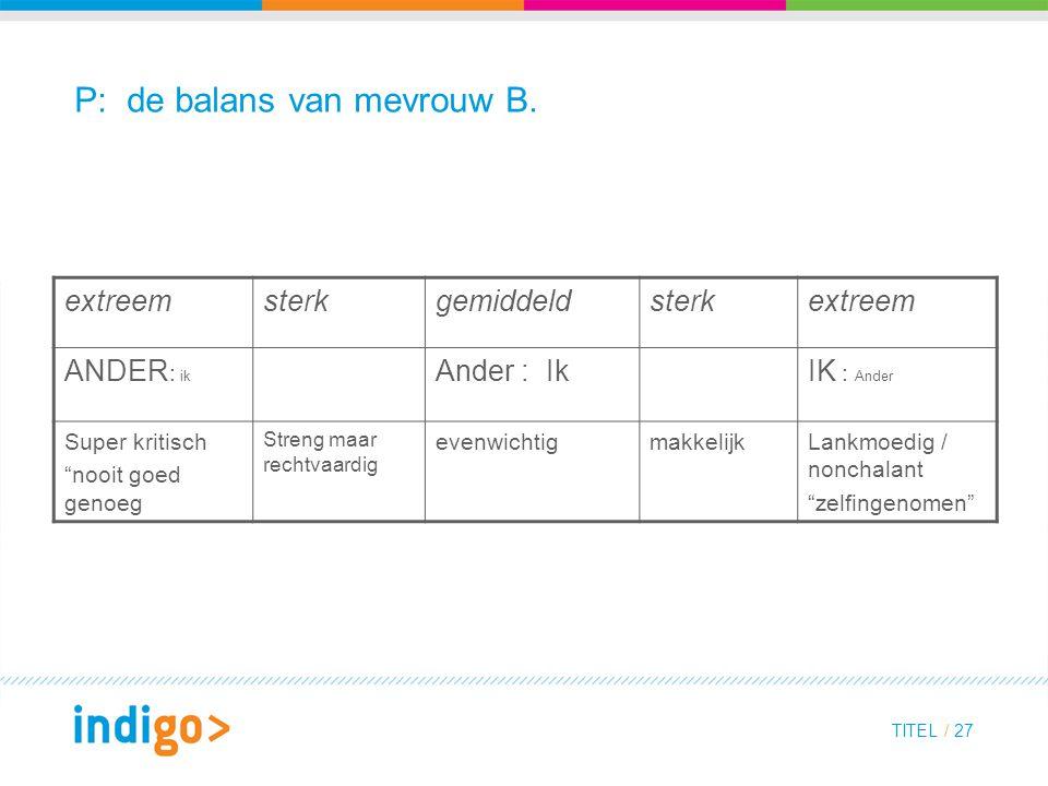 TITEL / 27 P: de balans van mevrouw B.
