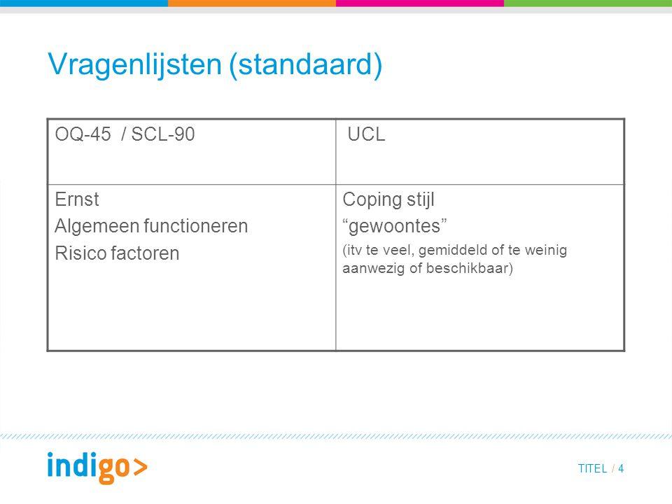 TITEL / 4 Vragenlijsten (standaard) OQ-45 / SCL-90 UCL Ernst Algemeen functioneren Risico factoren Coping stijl gewoontes (itv te veel, gemiddeld of te weinig aanwezig of beschikbaar)