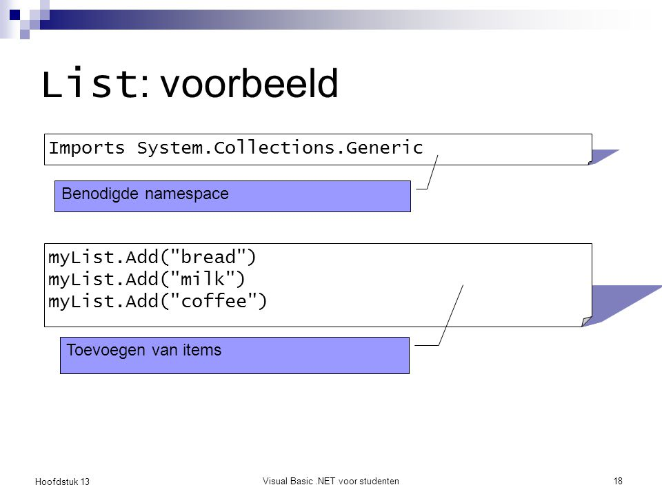 Hoofdstuk 13 Visual Basic.NET voor studenten18 List : voorbeeld Imports System.Collections.Generic myList.Add(