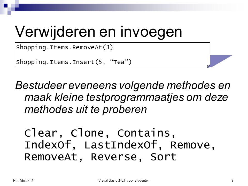 Hoofdstuk 13 Visual Basic.NET voor studenten20 Opmerking In het vorige voorbeeld werden de strings gekopieerd van een List naar de lijst van een ListBox Dit is overbodig werk, want je kan gebruik maken van Data Binding Dit valt echter buiten het bestek van de cursus Meer info: http://www.codeproject.com/vb/net/databindingconcepts.asp http://www.codeproject.com/vb/net/databindingconcepts.asp