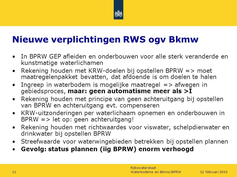 Rijkswaterstaat Waterbodems en Bkmw/BPRW1112 februari 2010 Nieuwe verplichtingen RWS ogv Bkmw In BPRW GEP afleiden en onderbouwen voor alle sterk veranderde en kunstmatige waterlichamen Rekening houden met KRW-doelen bij opstellen BPRW => moet maatregelenpakket bevatten, dat afdoende is om doelen te halen Ingreep in waterbodem is mogelijke maatregel => afwegen in gebiedsproces, maar: geen automatisme meer als >I Rekening houden met principe van geen achteruitgang bij opstellen van BPRW en achteruitgang evt.