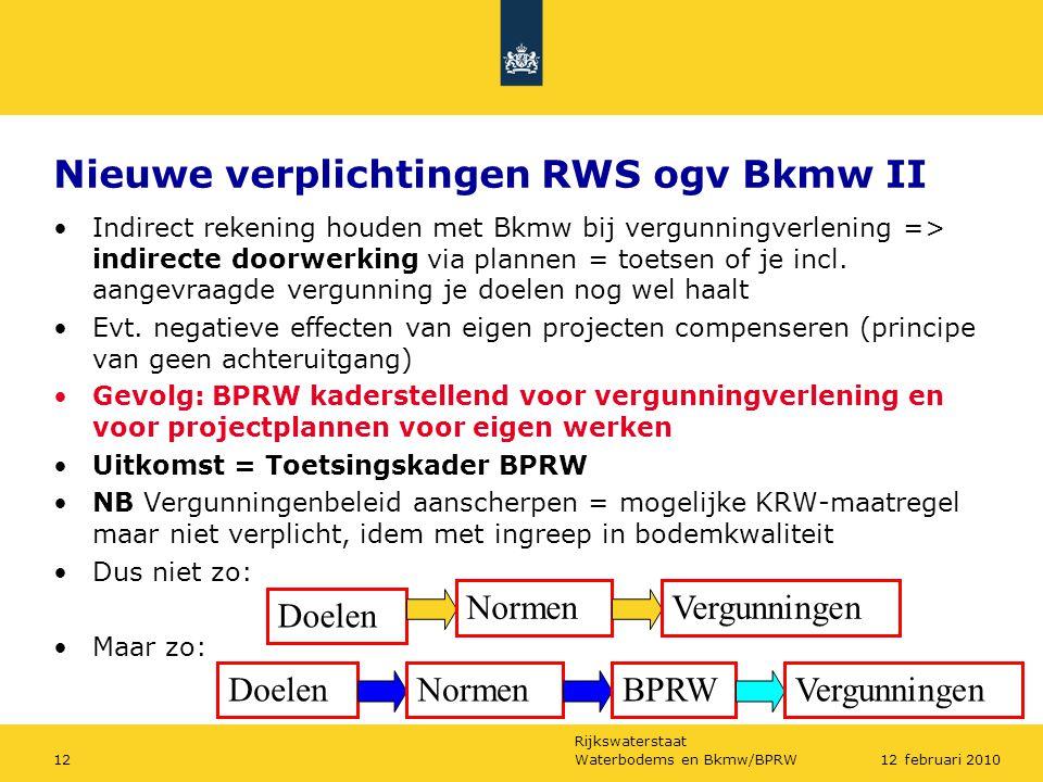 Rijkswaterstaat Waterbodems en Bkmw/BPRW1212 februari 2010 Nieuwe verplichtingen RWS ogv Bkmw II Indirect rekening houden met Bkmw bij vergunningverlening => indirecte doorwerking via plannen = toetsen of je incl.