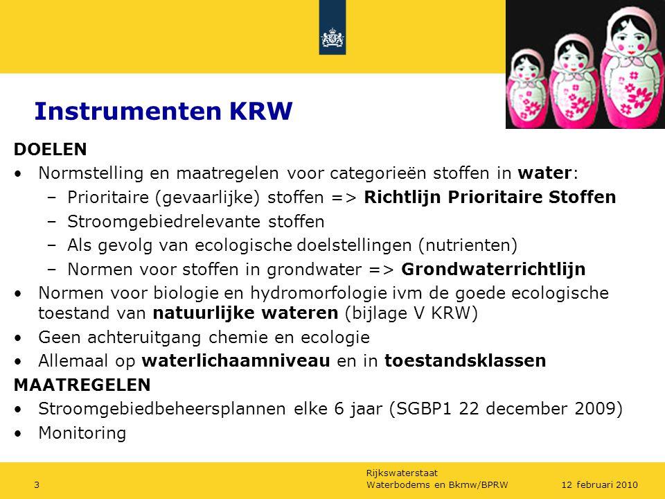 Rijkswaterstaat Waterbodems en Bkmw/BPRW312 februari 2010 Instrumenten KRW DOELEN Normstelling en maatregelen voor categorieën stoffen in water: –Prio