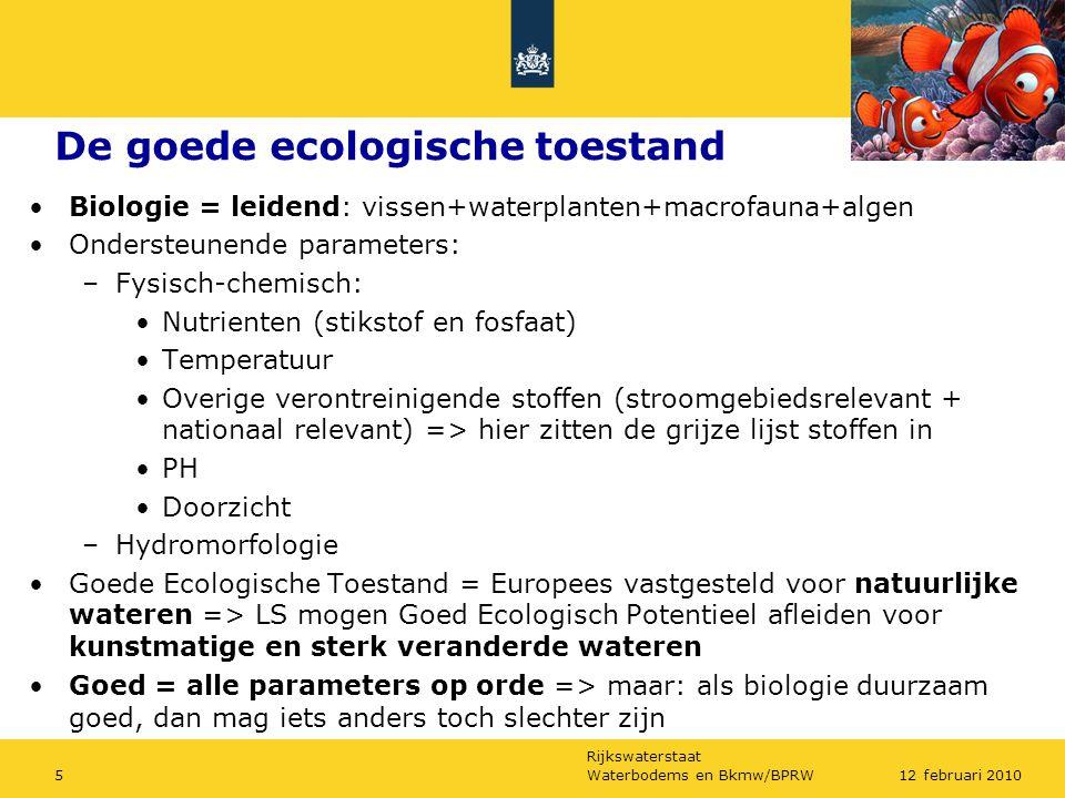 Rijkswaterstaat Waterbodems en Bkmw/BPRW512 februari 2010 De goede ecologische toestand Biologie = leidend: vissen+waterplanten+macrofauna+algen Onder