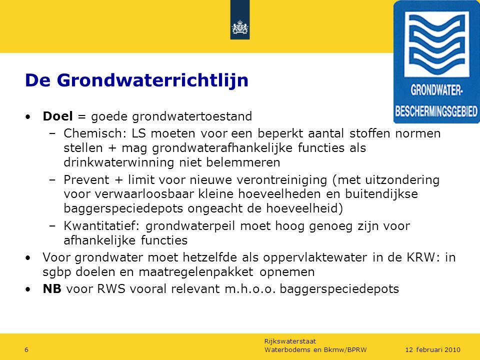 Rijkswaterstaat Waterbodems en Bkmw/BPRW612 februari 2010 De Grondwaterrichtlijn Doel = goede grondwatertoestand –Chemisch: LS moeten voor een beperkt
