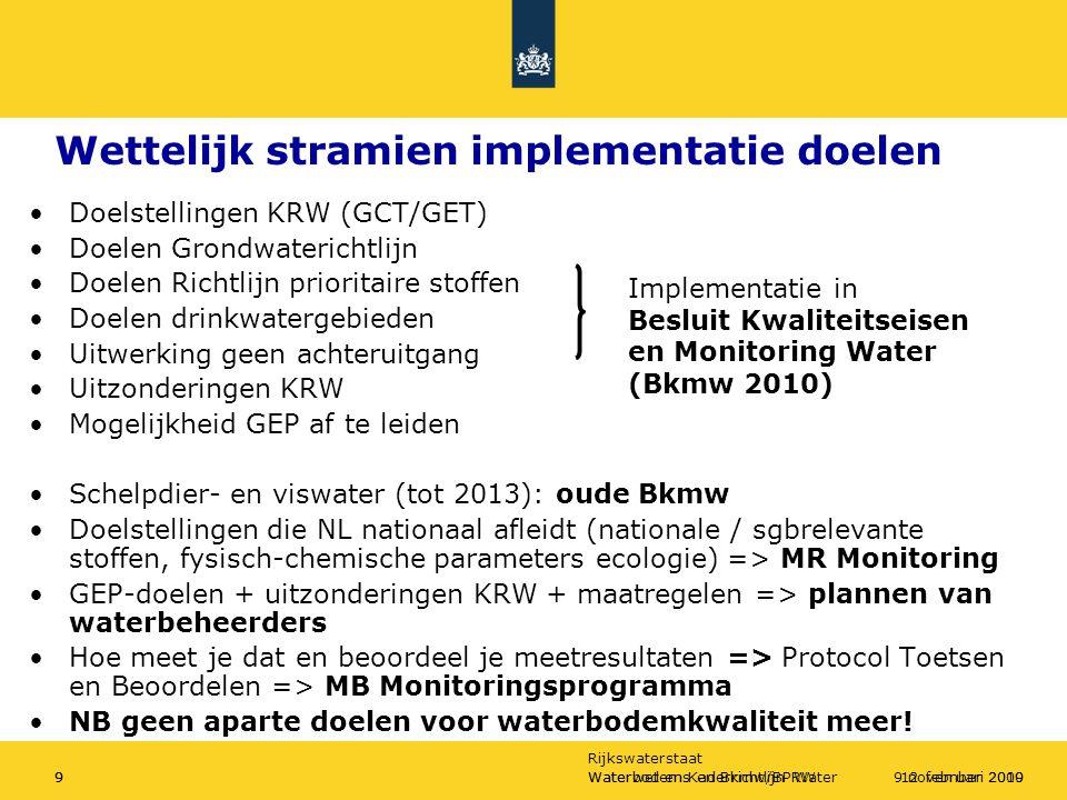 Rijkswaterstaat Waterbodems en Bkmw/BPRW912 februari 2010Waterwet en Kaderrichtlijn Water99 november 2009 Wettelijk stramien implementatie doelen Doelstellingen KRW (GCT/GET) Doelen Grondwaterichtlijn Doelen Richtlijn prioritaire stoffen Doelen drinkwatergebieden Uitwerking geen achteruitgang Uitzonderingen KRW Mogelijkheid GEP af te leiden Schelpdier- en viswater (tot 2013): oude Bkmw Doelstellingen die NL nationaal afleidt (nationale / sgbrelevante stoffen, fysisch-chemische parameters ecologie) => MR Monitoring GEP-doelen + uitzonderingen KRW + maatregelen => plannen van waterbeheerders Hoe meet je dat en beoordeel je meetresultaten => Protocol Toetsen en Beoordelen => MB Monitoringsprogramma NB geen aparte doelen voor waterbodemkwaliteit meer.