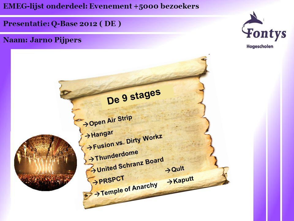 EMEG-lijst onderdeel: Evenement +5000 bezoekers Presentatie: Q-Base 2012 ( DE ) Naam: Jarno Pijpers De 9 stages  Open Air Strip  Hangar  Fusion vs.