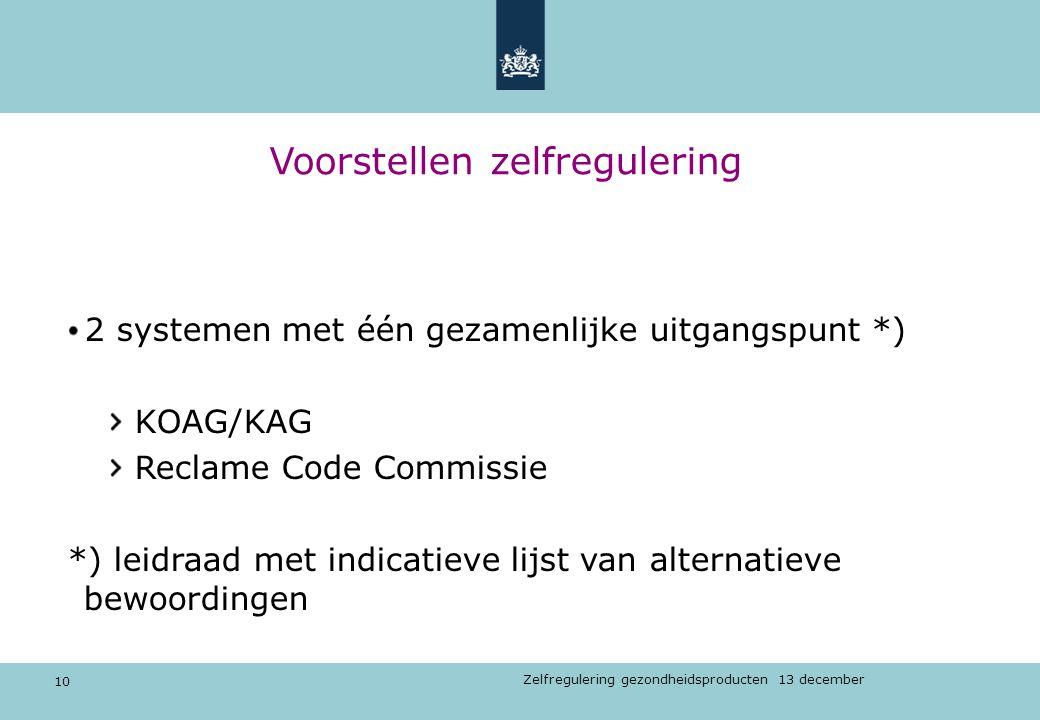 10 Zelfregulering gezondheidsproducten 13 december Voorstellen zelfregulering 2 systemen met één gezamenlijke uitgangspunt *) KOAG/KAG Reclame Code Co