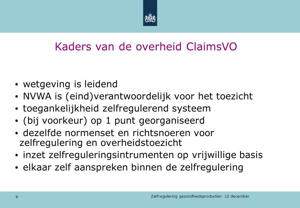 9 Zelfregulering gezondheidsproducten 13 december Kaders van de overheid ClaimsVO wetgeving is leidend NVWA is (eind)verantwoordelijk voor het toezich