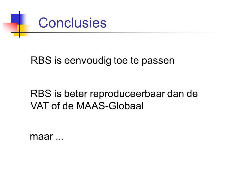 Conclusies RBS is eenvoudig toe te passen RBS is beter reproduceerbaar dan de VAT of de MAAS-Globaal maar...