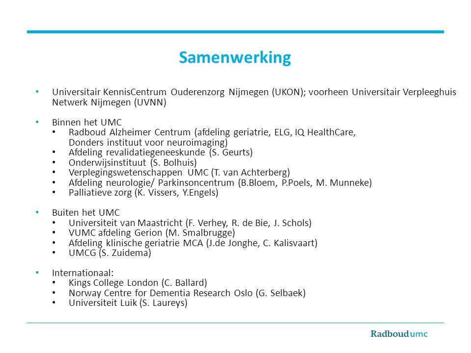 Samenwerking Universitair KennisCentrum Ouderenzorg Nijmegen (UKON); voorheen Universitair Verpleeghuis Netwerk Nijmegen (UVNN) Binnen het UMC Radboud