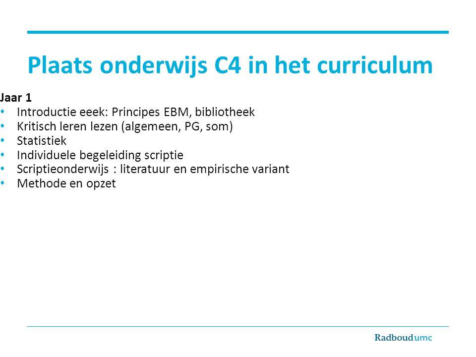 Plaats onderwijs C4 in het curriculum Jaar 1 Introductie eeek: Principes EBM, bibliotheek Kritisch leren lezen (algemeen, PG, som) Statistiek Individu