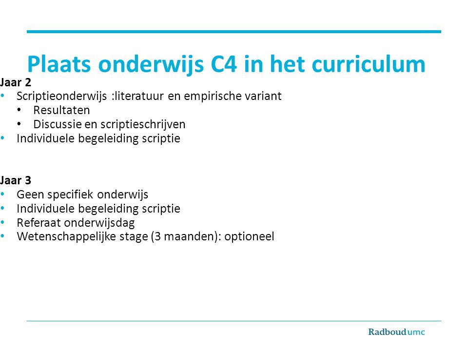 Plaats onderwijs C4 in het curriculum Jaar 2 Scriptieonderwijs :literatuur en empirische variant Resultaten Discussie en scriptieschrijven Individuele