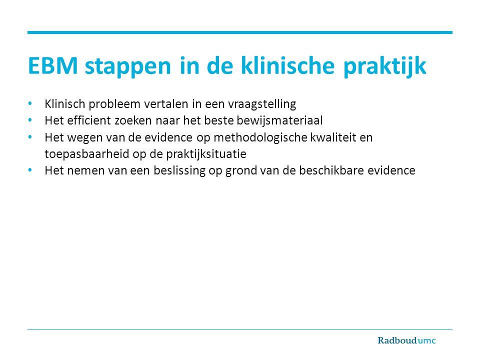 EBM stappen in de klinische praktijk Klinisch probleem vertalen in een vraagstelling Het efficient zoeken naar het beste bewijsmateriaal Het wegen van