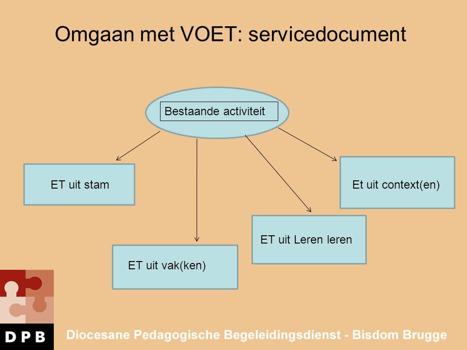 Omgaan met VOET: servicedocument Bestaande activiteit ET uit stam ET uit vak(ken) ET uit Leren leren Et uit context(en)