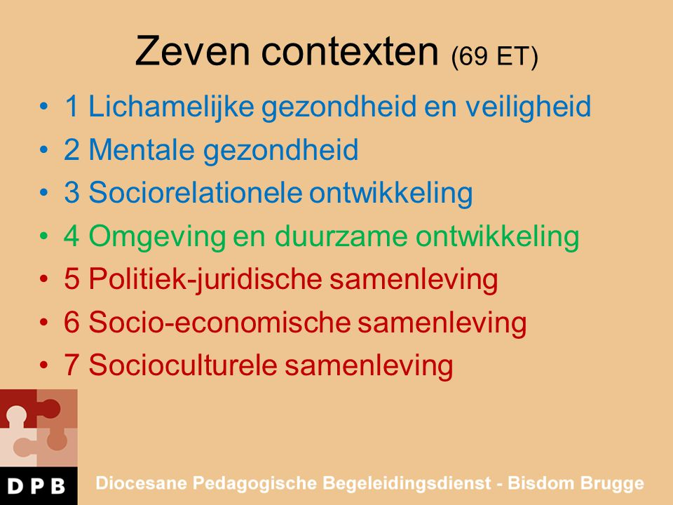 Zeven contexten (69 ET) 1 Lichamelijke gezondheid en veiligheid 2 Mentale gezondheid 3 Sociorelationele ontwikkeling 4 Omgeving en duurzame ontwikkeli