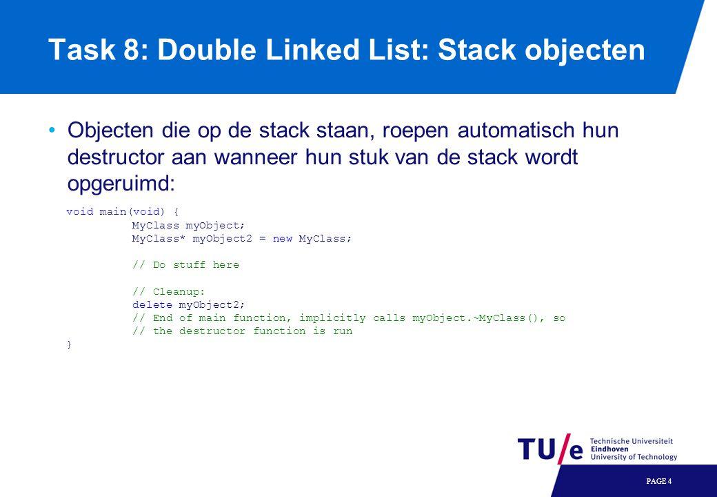 Task 8: Double Linked List: Items itereren Door de items in je lijst lopen kan je handig doen met een do…while loop: PAGE 5 Item* ptr = _top_of_ring; if(ptr){ // If we get here, the list is not empty do { // Do stuff with you Item pointer here // Advance to next item ptr = ptr->_next; } while(ptr != _top_of_ring); }