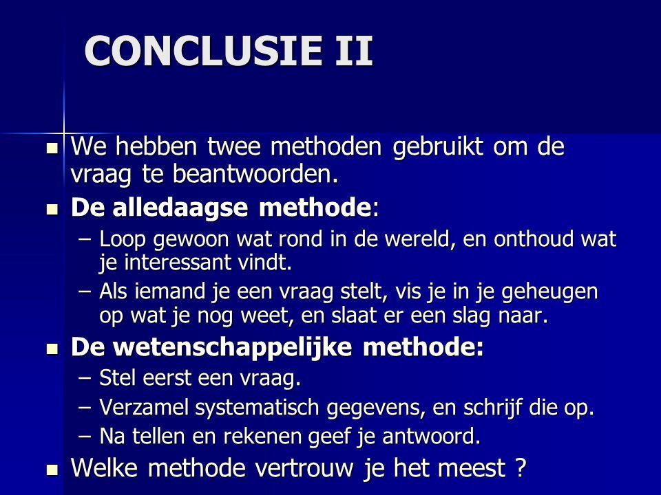 CONCLUSIE II We hebben twee methoden gebruikt om de vraag te beantwoorden.