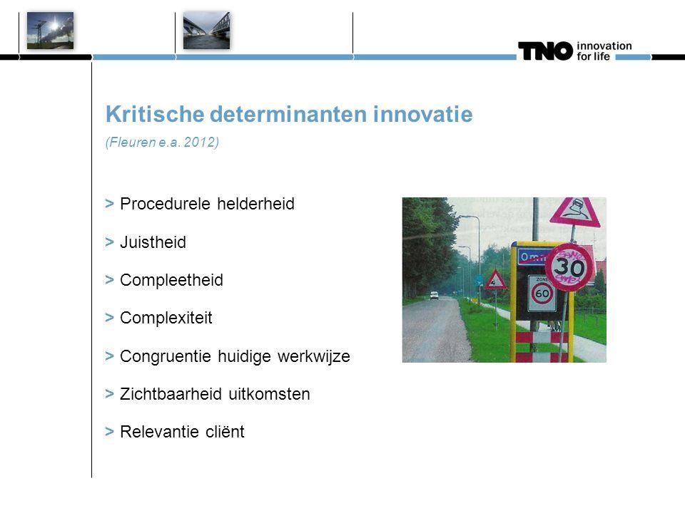 Kritische determinanten innovatie (Fleuren e.a. 2012) > Procedurele helderheid > Juistheid > Compleetheid > Complexiteit > Congruentie huidige werkwij