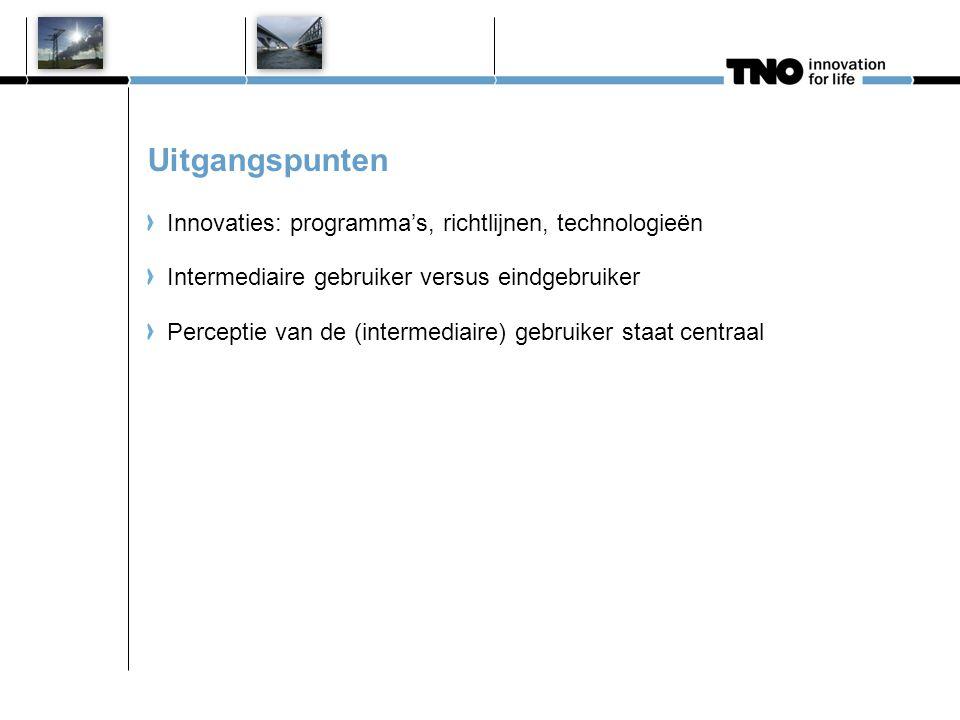 Uitgangspunten Innovaties: programma's, richtlijnen, technologieën Intermediaire gebruiker versus eindgebruiker Perceptie van de (intermediaire) gebru