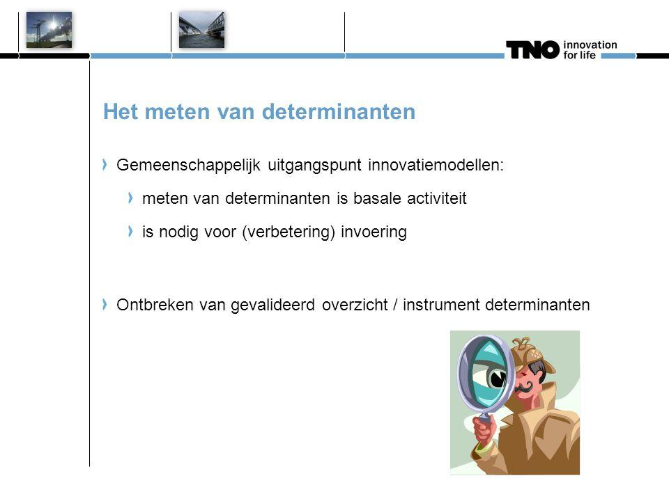 Het meten van determinanten Gemeenschappelijk uitgangspunt innovatiemodellen: meten van determinanten is basale activiteit is nodig voor (verbetering)