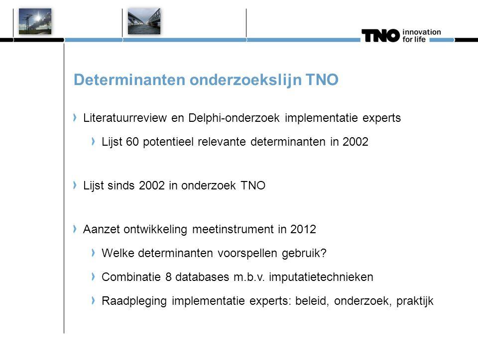 Determinanten onderzoekslijn TNO Literatuurreview en Delphi-onderzoek implementatie experts Lijst 60 potentieel relevante determinanten in 2002 Lijst