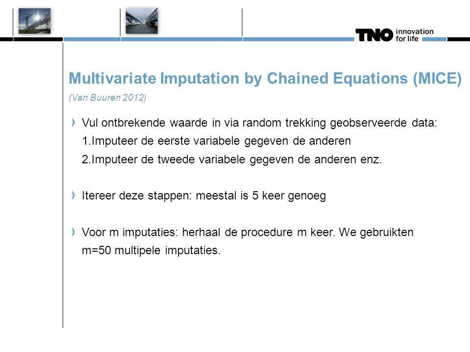 MuItivariate Imputation by Chained Equations (MICE) (Van Buuren 2012) Vul ontbrekende waarde in via random trekking geobserveerde data: 1.Imputeer de