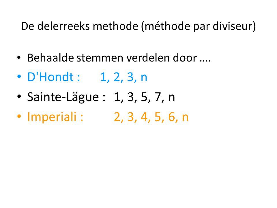 De delerreeks methode (méthode par diviseur) Behaalde stemmen verdelen door …. D'Hondt : 1, 2, 3, n Sainte-Lägue : 1, 3, 5, 7, n Imperiali : 2, 3, 4,