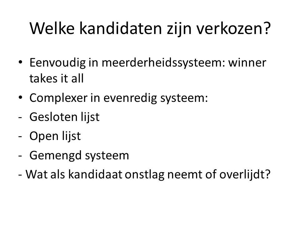 Welke kandidaten zijn verkozen? Eenvoudig in meerderheidssysteem: winner takes it all Complexer in evenredig systeem: -Gesloten lijst -Open lijst -Gem