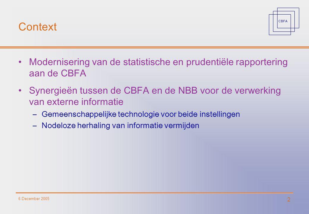 CBFA 6 December 2005 2 Context Modernisering van de statistische en prudentiële rapportering aan de CBFA Synergieën tussen de CBFA en de NBB voor de verwerking van externe informatie –Gemeenschappelijke technologie voor beide instellingen –Nodeloze herhaling van informatie vermijden