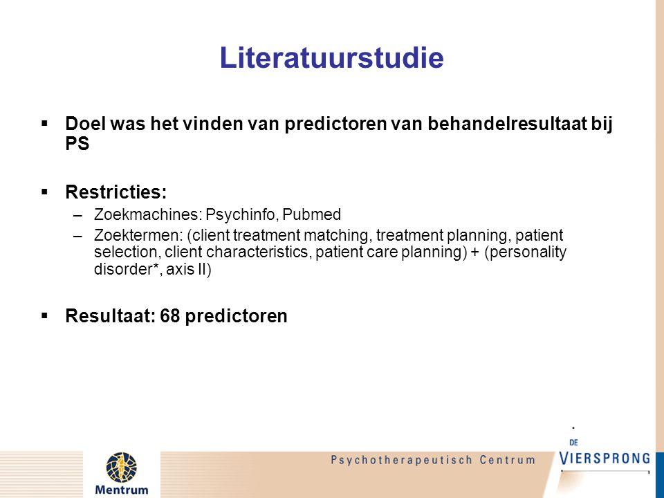 Literatuurstudie  Doel was het vinden van predictoren van behandelresultaat bij PS  Restricties: –Zoekmachines: Psychinfo, Pubmed –Zoektermen: (clie