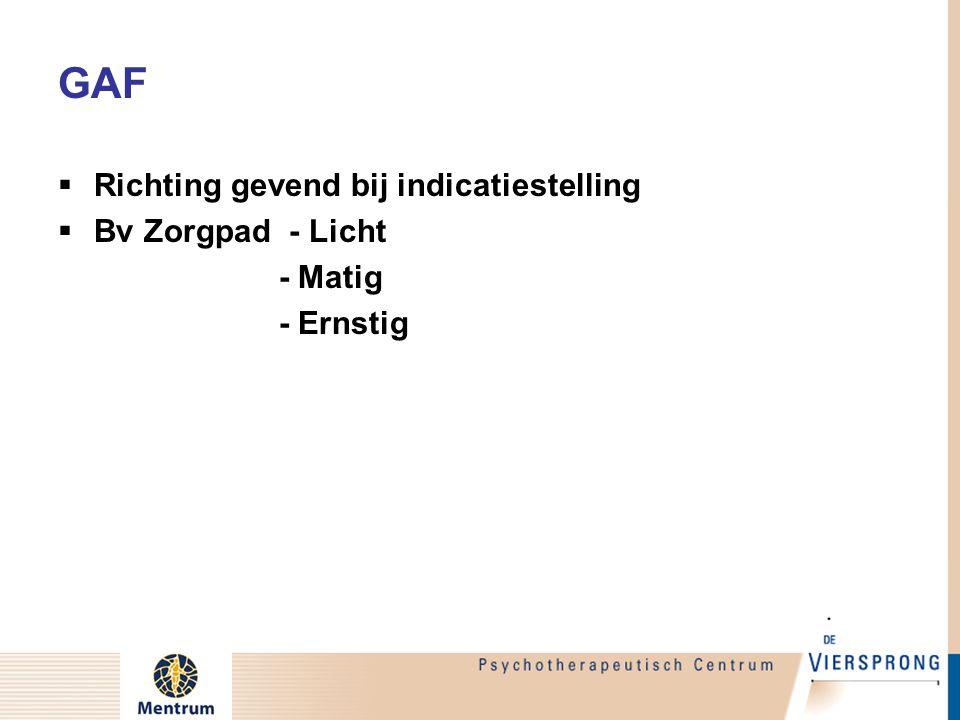 GAF  Richting gevend bij indicatiestelling  Bv Zorgpad - Licht - Matig - Ernstig