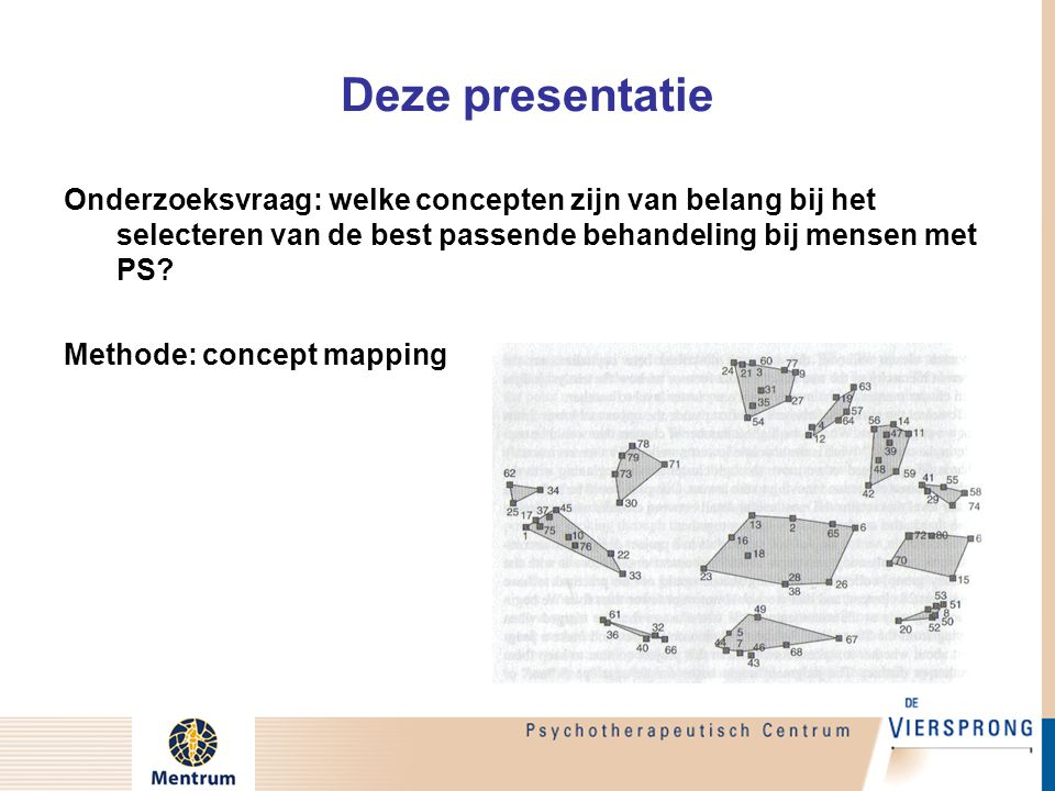 Concept Map  Conceptmapping is een methode om een groep experts de verschillende kanten van een complex probleem in kaart te laten brengen –Grafische weergave van de concepten zodat de onderlinge verbanden zichtbaar worden –Wetenschappelijk veel gebruikte methode –Efficiënte werkwijze