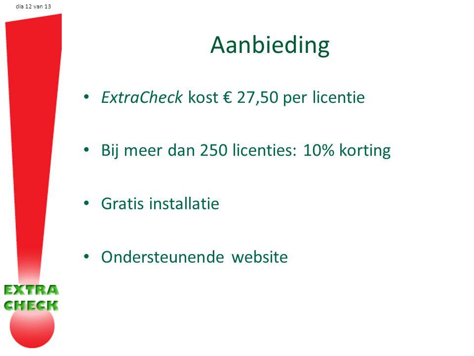 dia 12 van 13 Aanbieding ExtraCheck kost € 27,50 per licentie Bij meer dan 250 licenties: 10% korting Gratis installatie Ondersteunende website
