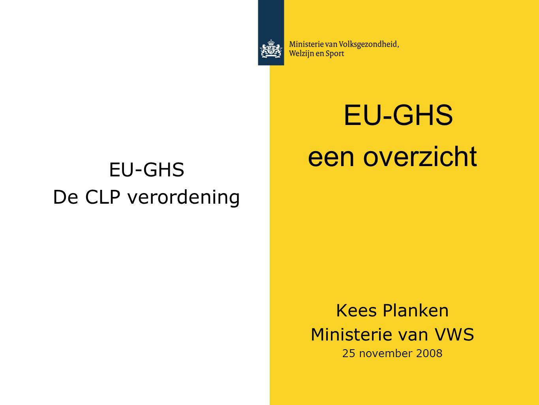 EU-GHS De CLP verordening EU-GHS een overzicht Kees Planken Ministerie van VWS 25 november 2008