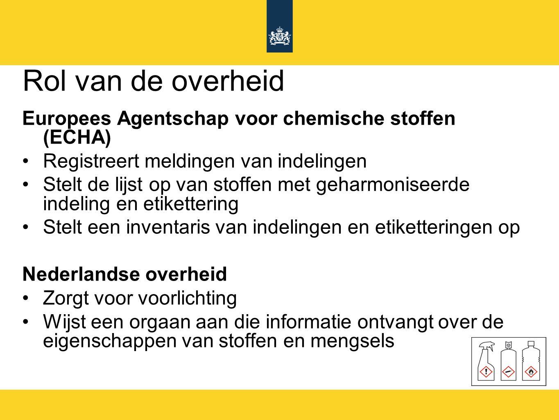 Rol van de overheid Europees Agentschap voor chemische stoffen (ECHA) Registreert meldingen van indelingen Stelt de lijst op van stoffen met geharmoni