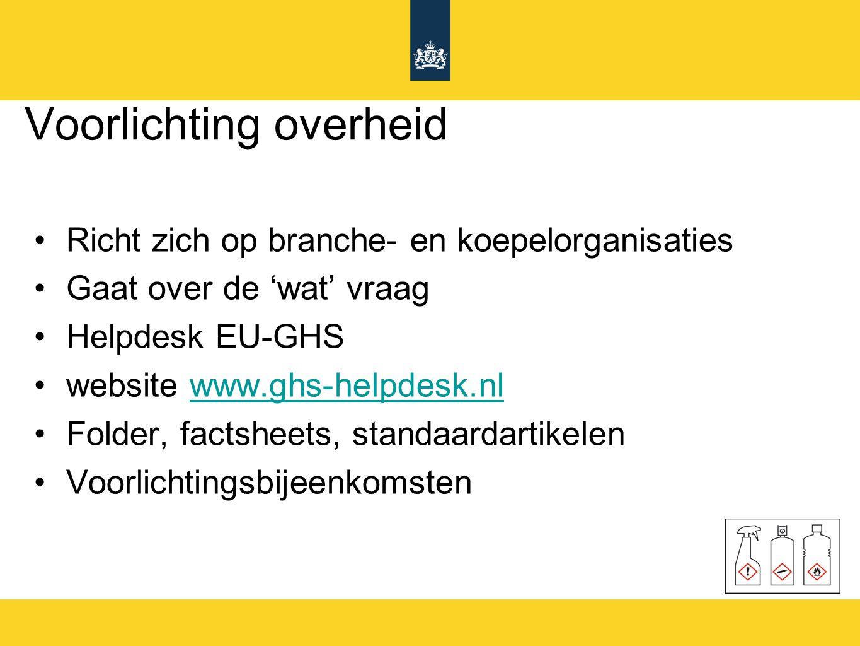 Voorlichting overheid Richt zich op branche- en koepelorganisaties Gaat over de 'wat' vraag Helpdesk EU-GHS website www.ghs-helpdesk.nlwww.ghs-helpdes