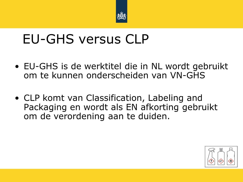 EU-GHS versus CLP EU-GHS is de werktitel die in NL wordt gebruikt om te kunnen onderscheiden van VN-GHS CLP komt van Classification, Labeling and Pack