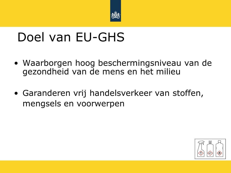 Doel van EU-GHS Waarborgen hoog beschermingsniveau van de gezondheid van de mens en het milieu Garanderen vrij handelsverkeer van stoffen, mengsels en