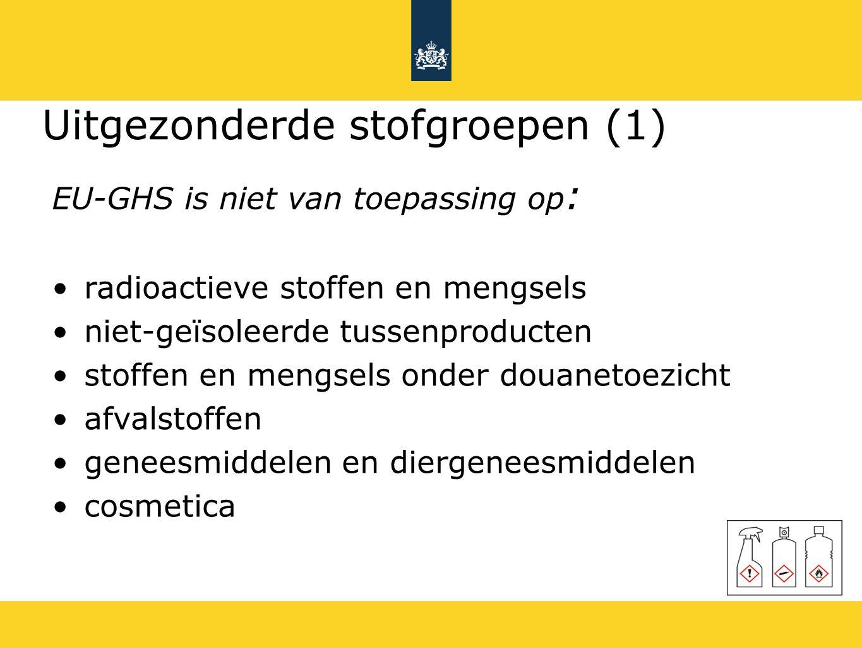 Uitgezonderde stofgroepen (1) EU-GHS is niet van toepassing op : radioactieve stoffen en mengsels niet-geïsoleerde tussenproducten stoffen en mengsels