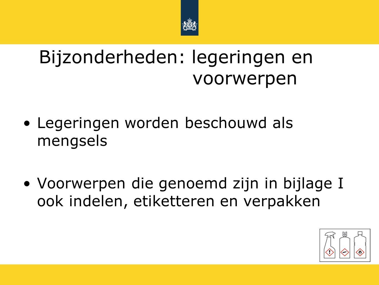 Wijzigingen in wetgeving (1) EU-GHS vervangt op termijn Stoffenrichtlijn 67/548/EG Preparatenrichtlijn 1999/45/EG EU-GHS wijzigt REACH (1907/2006) Verwijzingen naar de stoffen- en preparatenrichtlijn De inventaristitel gaat naar EU-GHS Het begrip mengsel vervangt het begrip preparaat Categorie giftig voor de voortplanting toegevoegd