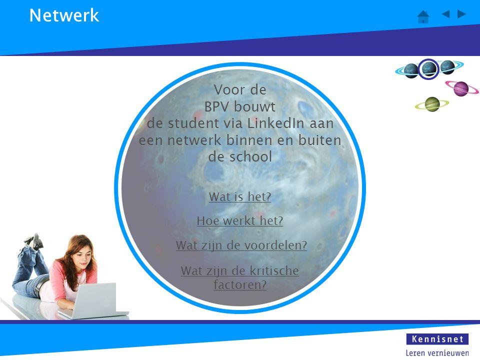 Netwerk Wat is het? Hoe werkt het? Wat zijn de voordelen? Wat zijn de kritische factoren? Voor de BPV bouwt de student via LinkedIn aan een netwerk bi