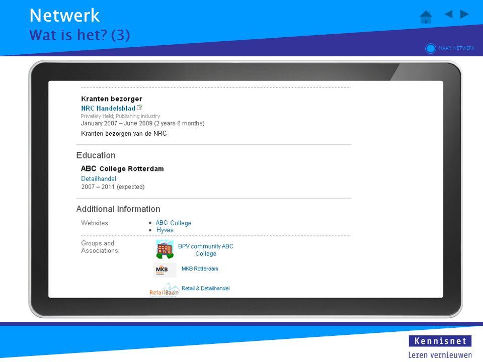 Netwerk Wat is het? (3) NAAR NETWERK